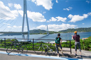 Enjoy the Shimanami Sea Route with a rental bike.